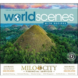 World Scenes with Recipes Wall Calendar with Your Slogan