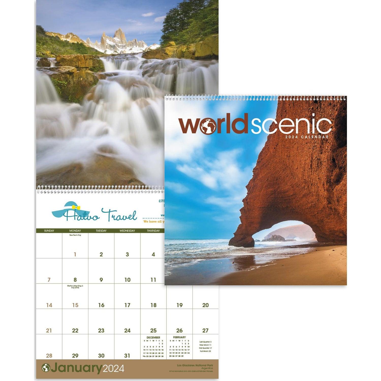 "World Scenic Executive Calendar (12"" x 25"", 2020)"