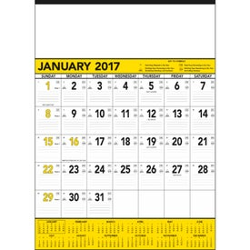 Yellow and Black Contractors Memo Calendar for Your Church