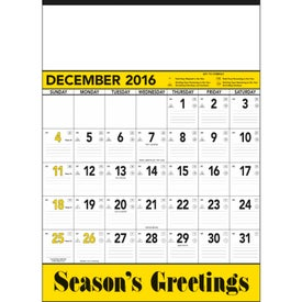 Customized Yellow and Black Contractors Memo Calendar
