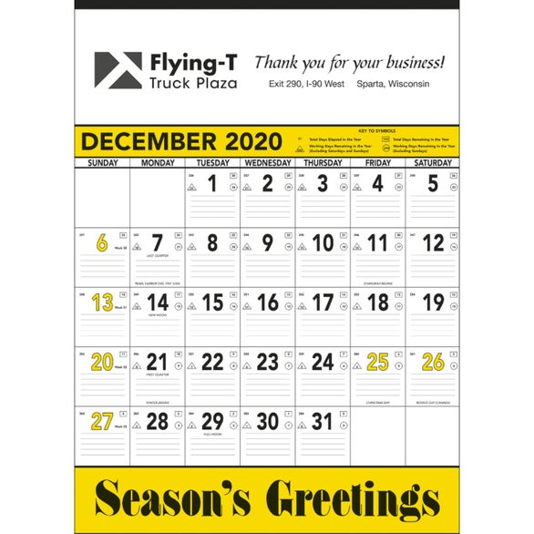 White / Yellow Yellow and Black Contractors Memo Calendar