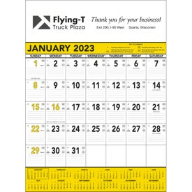Yellow and Black Contractors Memo Calendar (2019)