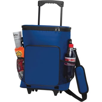 blue 30can rolling insulated cooler bag