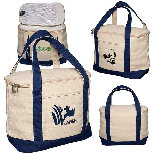 Natural / Navy Blue Cotton Cooler Lunch Tote