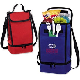 Dual Compartment Insulated Lunch Bag Imprinted with Your Logo
