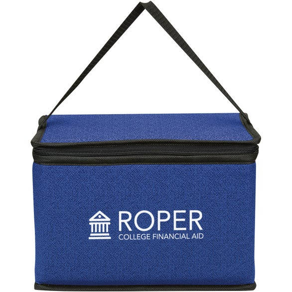 Royal Blue Heathered Non-Woven Cooler Lunch Bag