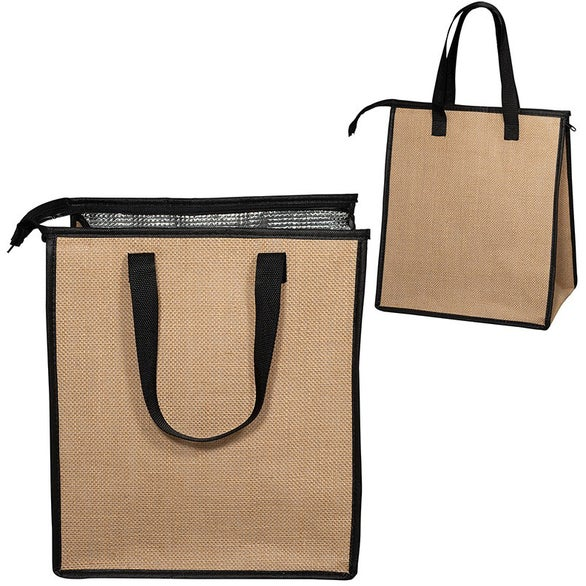 Natural / Black Jute Cooler Tote Bag