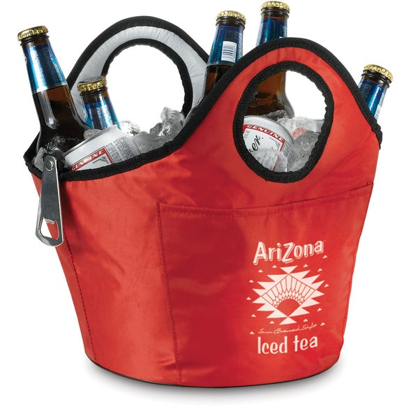 Red Portable Ice Bucket Beverage Carrier