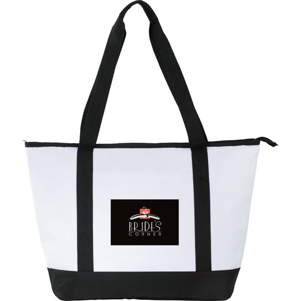White / Black Stay Cool Event Cooler Tote Bag