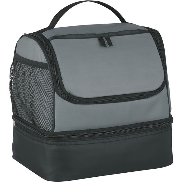 Gray / Black Two Compartment Lunch Pail Cooler Bag