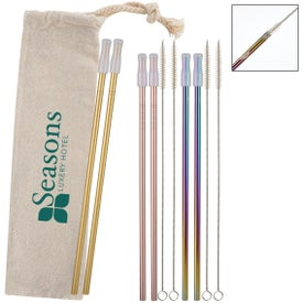 2-Pack Park Avenue Stainless Straw Kit With Cotton Pouch