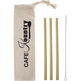 3 Pack Bamboo Straw Kit in Cotton Pouch