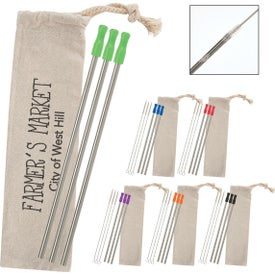 3-Pack Stainless Straw Kit With Cotton Pouch
