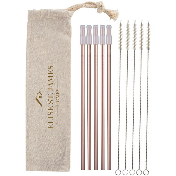 Rose Gold 5-Pack Park Avenue Stainless Straw Kit With Cotton Pouch