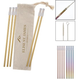 5-Pack Park Avenue Stainless Straw Kit With Cotton Pouch