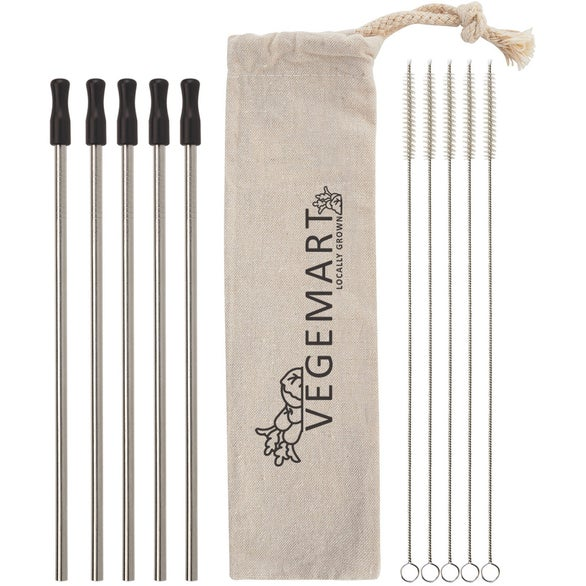 Silver / Black 5-Pack Stainless Straw Kit With Cotton Pouch