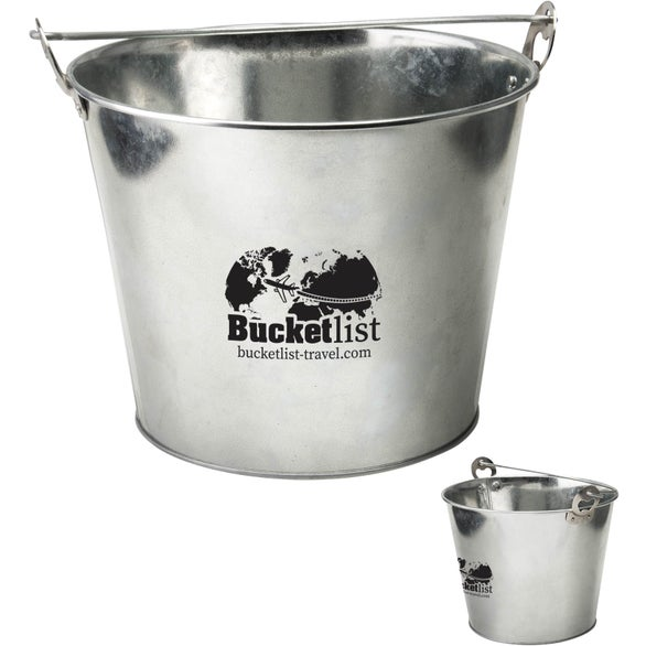 Silver Galvanized Ice Bucket with Bottle Opener