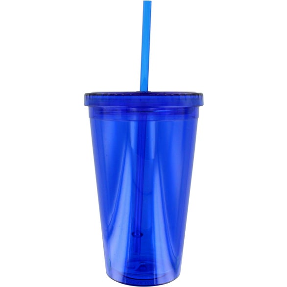 Translucent Blue Double Wall Cool Acrylic Tumbler with Matching Straw