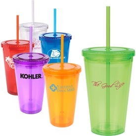 Double Wall Cool Acrylic Tumbler with Matching Straw (16 Oz.)