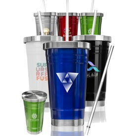Asgard Stainless Steel Tumbler with Straw (20 Oz.)