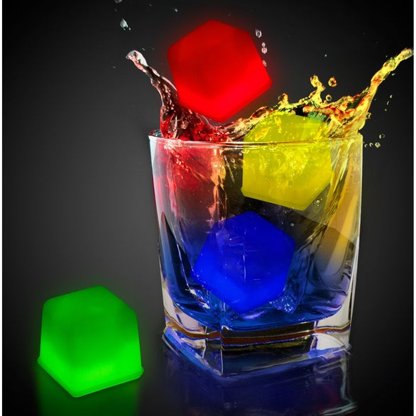 Green, Blue, Red, Yellow Assorted Colors Glowing Ice Cubes
