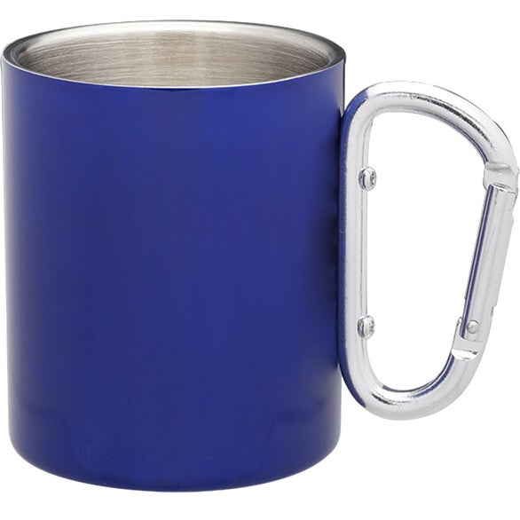Blue Carabiner Handle Stainless Steel Mug