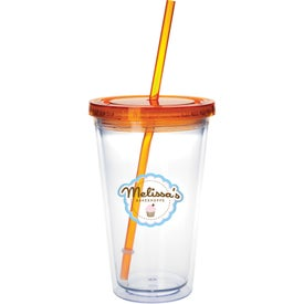 Clear Tumbler with Colored Lid for Marketing