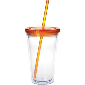 Advertising Clear Tumbler with Colored Lid