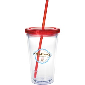 Clear Tumbler with Colored Lid Branded with Your Logo