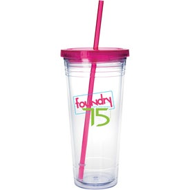 Clear Tumbler with Colored Lid with Your Slogan