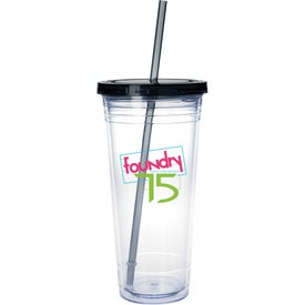 Printed Clear Tumbler with Colored Lid