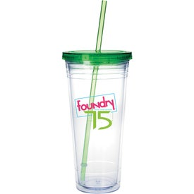 Branded Clear Tumbler with Colored Lid