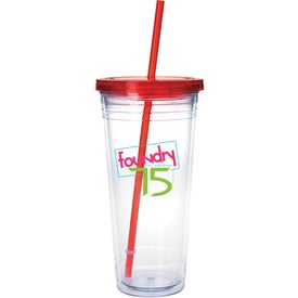 Monogrammed Clear Tumbler with Colored Lid