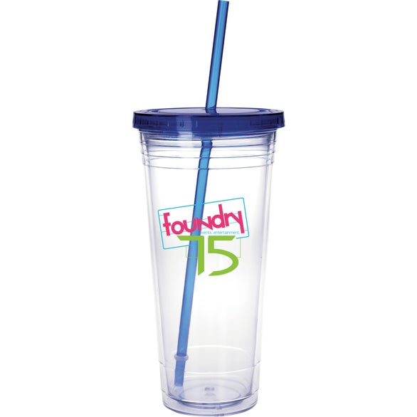 Clear Tumbler with Colored Lid