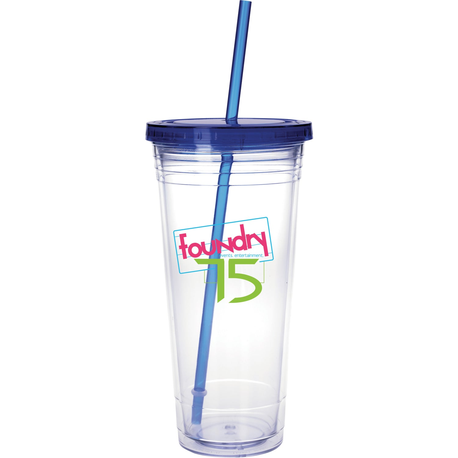 Clear Tumbler with Colored Lid (24 Oz.)