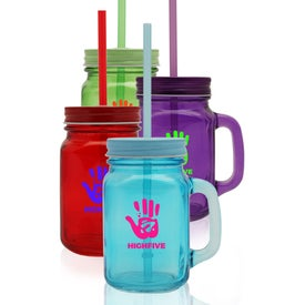 Colored Mason Jar with Straw (15 Oz.)