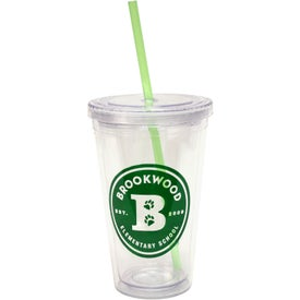 Promotional Cool Clear Acrylic Tumbler with Color Straws