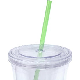 Custom Cool Clear Acrylic Tumbler with Color Straws