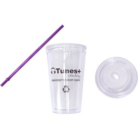 Cool Clear Acrylic Tumbler with Color Straws with Your Logo