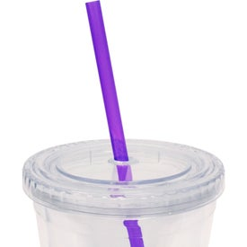 Branded Cool Clear Acrylic Tumbler with Color Straws