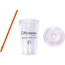 Printed Cool Clear Acrylic Tumbler with Color Straws
