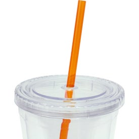 Customized Cool Clear Acrylic Tumbler with Color Straws