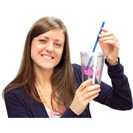 Cool Clear Acrylic Tumbler with Color Straws for Your Church