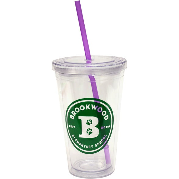 Cool Clear Acrylic Tumbler with Color Straws