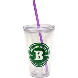 Cool Clear Acrylic Tumbler with Color Straws (16 Oz.)
