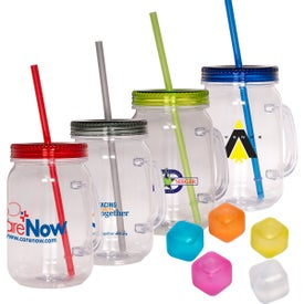 Country Mason Jar Sipper and Ice Cubes Set (30 Oz.)