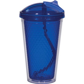 Printed Diamond Double Wall Tumbler with Straw