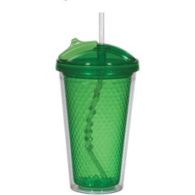 Promotional Diamond Double Wall Tumbler with Straw