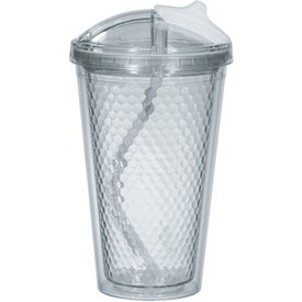 Custom Diamond Double Wall Tumbler with Straw