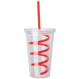 Branded Double Wall AS Tumbler with Straw